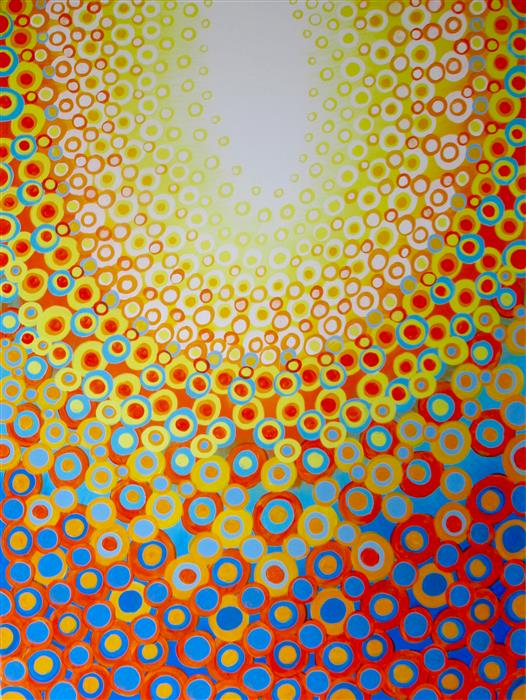 Original art for sale at UGallery.com | Yellow, Orange and Blue by Natasha Tayles | $1,275 | acrylic painting | 40' h x 30' w | ..\art\acrylic-painting-Yellow-Orange-and-Blue