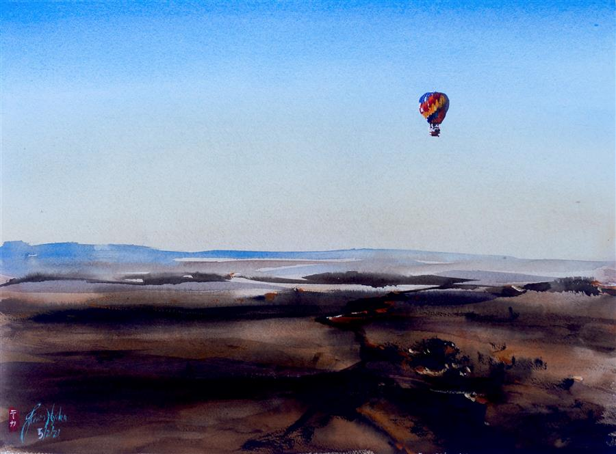 Original art for sale at UGallery.com | Ballooning, Morocco by James Nyika | $800 | watercolor painting | 18' h x 24' w | ..\art\watercolor-painting-Ballooning-Morocco