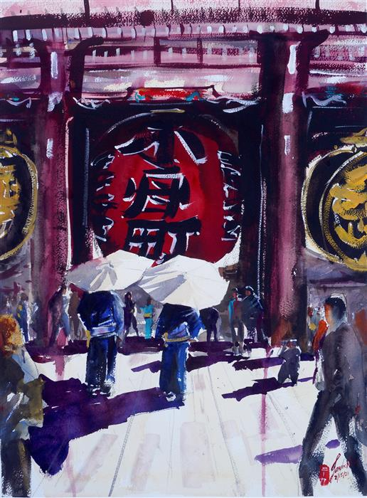 Original art for sale at UGallery.com | Sensoji, Exit by James Nyika | $900 | watercolor painting | 18' h x 24' w | ..\art\watercolor-painting-Sensoji-Exit