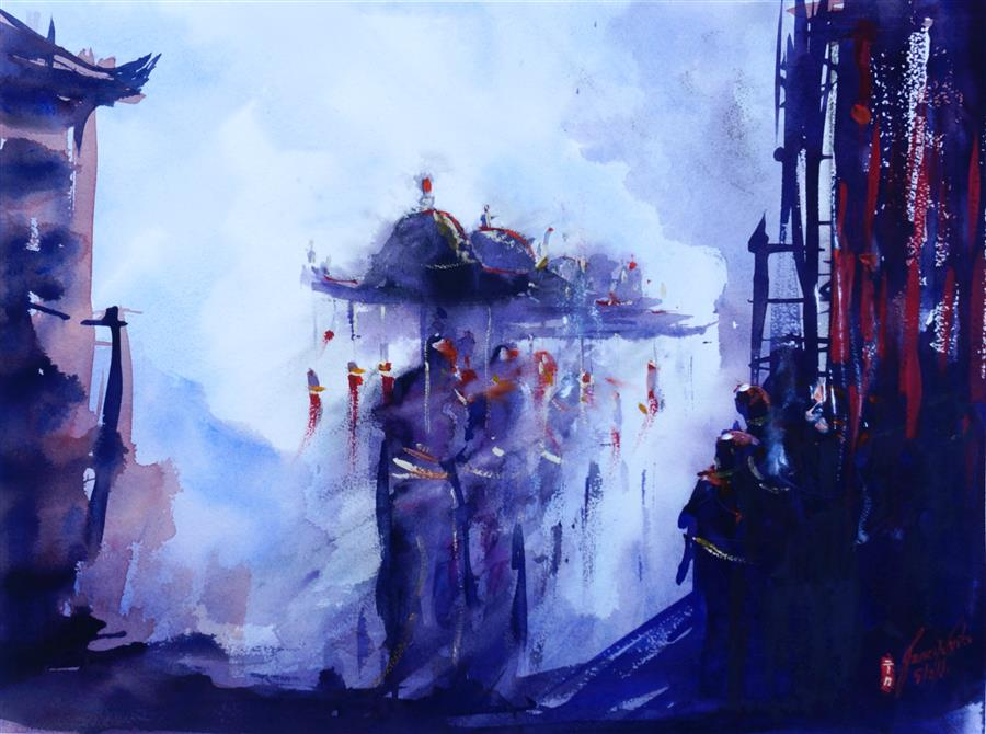 Original art for sale at UGallery.com | Procession by James Nyika | $800 | watercolor painting | 18' h x 24' w | ..\art\watercolor-painting-Procession