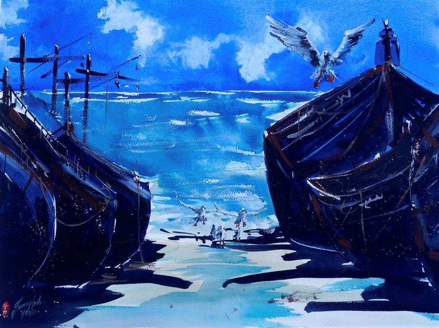 Original art for sale at UGallery.com | Beached Fishing Boats, Morocco by James Nyika | $800 | watercolor painting | 18' h x 24' w | ..\art\watercolor-painting-Beached-Fishing-Boats-Morocco