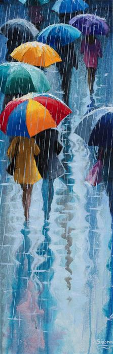 Original art for sale at UGallery.com | Colorful Umbrellas by Stanislav Sidorov | $925 | oil painting | 30' h x 10' w | ..\art\oil-painting-Colorful-Umbrellas