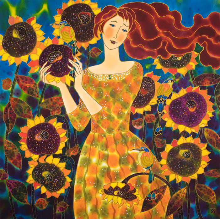 Original art for sale at UGallery.com | Sunflower Medley by Yelena Sidorova | $1,400 | mixed media artwork | 30' h x 30' w | ..\art\mixed-media-artwork-Sunflower-Medley