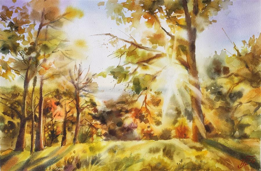 Original art for sale at UGallery.com | Golden Sunset by Irina Pronina | $925 | watercolor painting | 15' h x 21' w | ..\art\watercolor-painting-Golden-Sunset