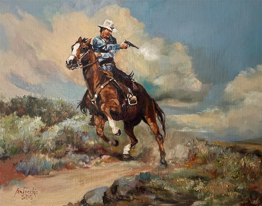 Original art for sale at UGallery.com | The Gunslinger by Jan Fontecchio Perley | $900 | oil painting | 16' h x 20' w | ..\art\oil-painting-The-Gunslinger