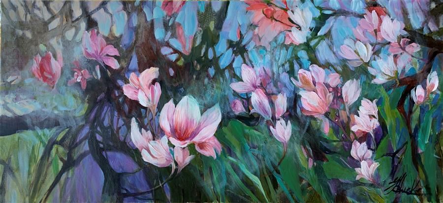 Original art for sale at UGallery.com | In Full Bloom by Julia Hacker | $3,850 | acrylic painting | 26' h x 52' w | ..\art\acrylic-painting-In-Full-Bloom