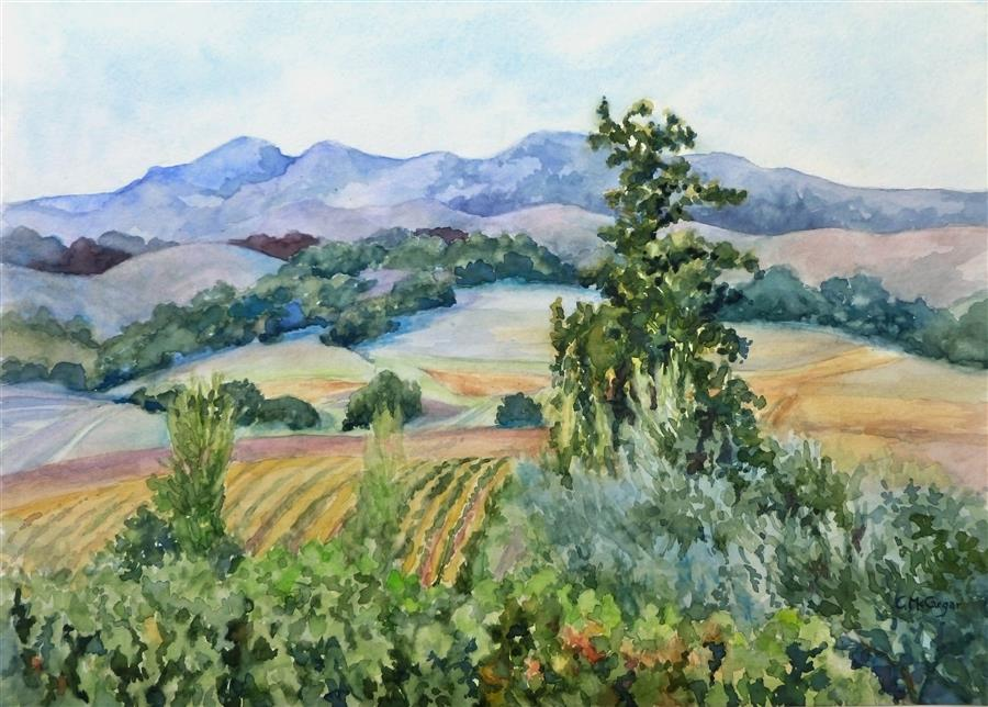 Original art for sale at UGallery.com | Sonoma Vineyards by Catherine McCargar | $575 | watercolor painting | 11' h x 15' w | ..\art\watercolor-painting-Sonoma-Vineyards