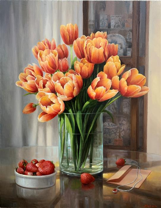 Original art for sale at UGallery.com | Tulips by Nikolay Rizhankov | $2,375 | oil painting | 28' h x 22' w | ..\art\oil-painting-Tulips-71287