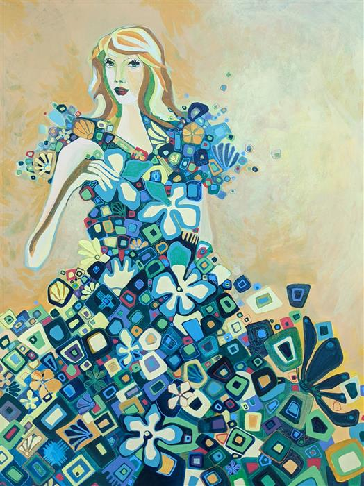 Original art for sale at UGallery.com | A Young Woman by Diana Elena Chelaru | $2,475 | acrylic painting | 40' h x 30' w | ..\art\acrylic-painting-A-Young-Woman