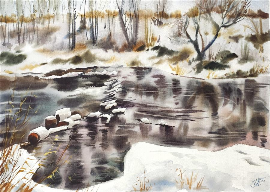 Original art for sale at UGallery.com | Spring Water by Irina Pronina | $925 | watercolor painting | 15' h x 21' w | ..\art\watercolor-painting-Spring-Water