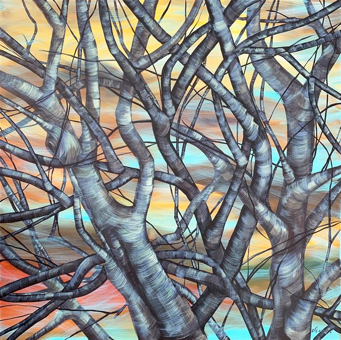 Original art for sale at UGallery.com   Tangled Up In Blue by Donna Corvi   $2,700   acrylic painting   30' h x 30' w   ..\art\acrylic-painting-Tangled-Up-In-Blue-71303