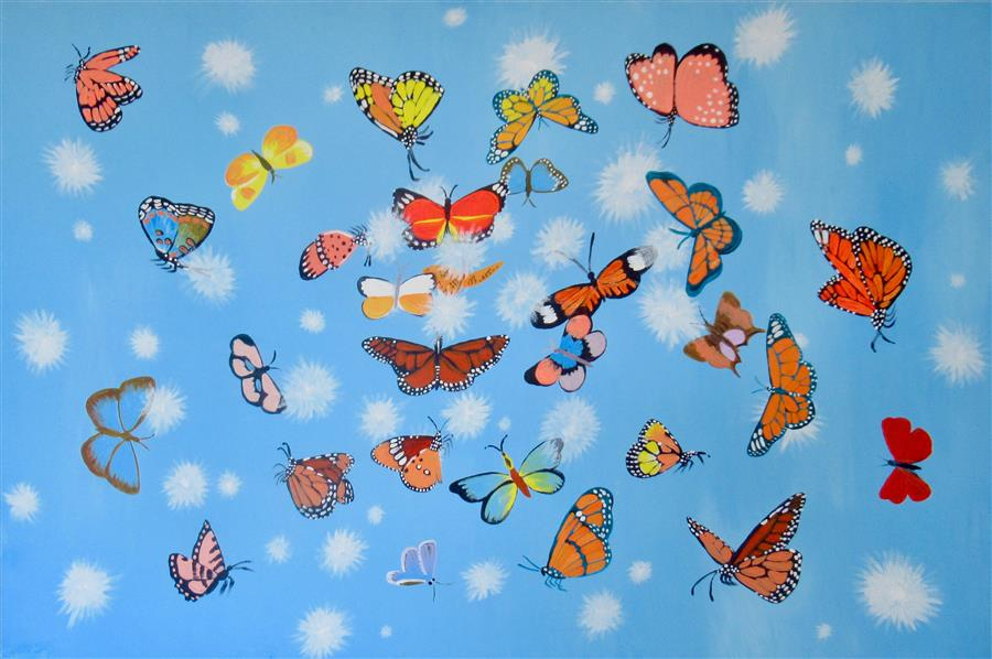 Original art for sale at UGallery.com | Fluffs and Butterflies 3 by Natasha Tayles | $800 | acrylic painting | 24' h x 36' w | ..\art\acrylic-painting-Fluffs-and-Butterflies-3