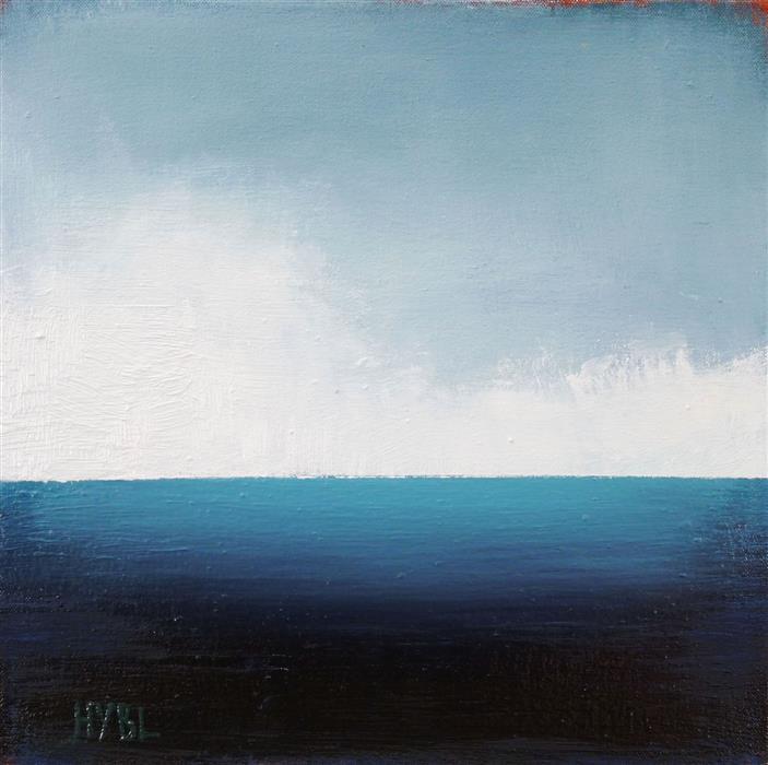 Original art for sale at UGallery.com | Aqua Sea by Heidi Hybl | $425 | oil painting | 12' h x 12' w | ..\art\oil-painting-Aqua-Sea