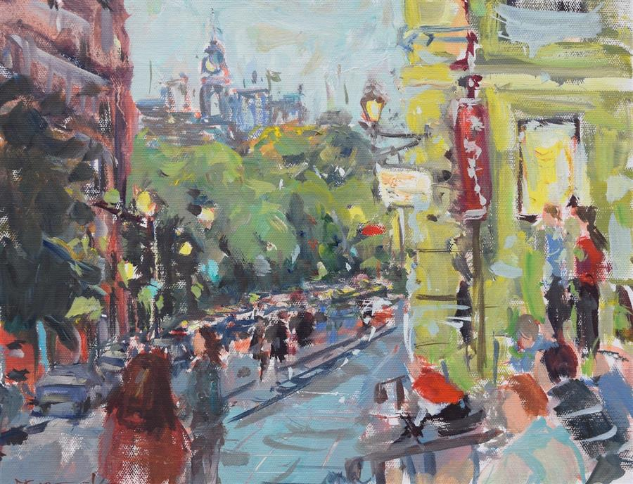 Original art for sale at UGallery.com | St. Sulpice, Montreal by Mickey Cunningham | $450 | oil painting | 11' h x 14' w | ..\art\oil-painting-St-Sulpice-Montreal