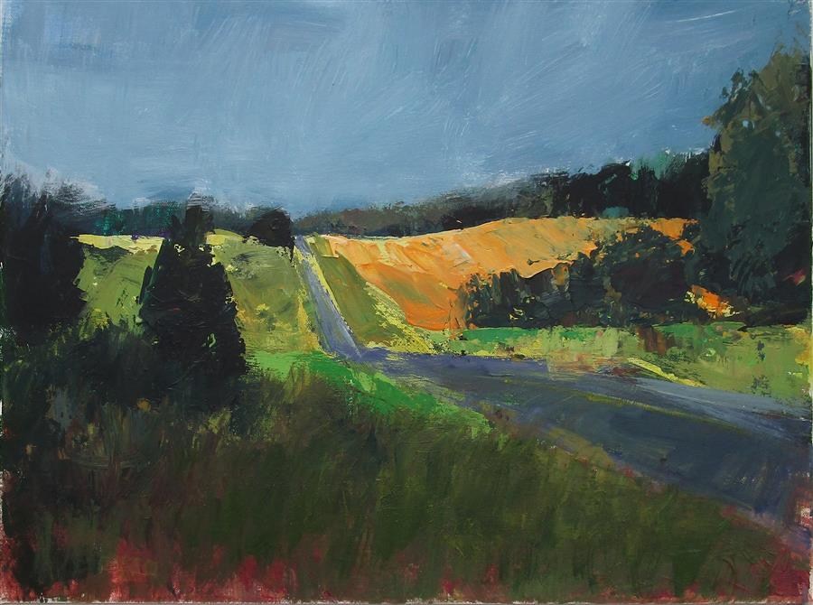Original art for sale at UGallery.com | Lift in the Road by Janet Dyer | $1,000 | acrylic painting | 18' h x 24' w | ..\art\acrylic-painting-Lift-in-the-Road