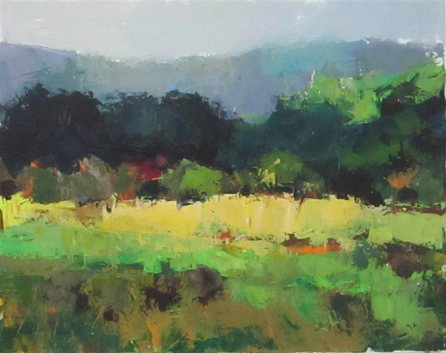 Original art for sale at UGallery.com | Meadow and Mountains by Janet Dyer | $800 | acrylic painting | 16' h x 20' w | ..\art\acrylic-painting-Meadow-and-Mountains
