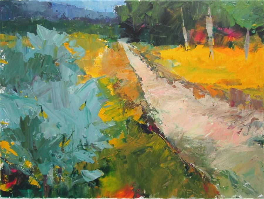 Original art for sale at UGallery.com | Path with Yellow Grass by Janet Dyer | $1,000 | acrylic painting | 18' h x 24' w | ..\art\acrylic-painting-Path-with-Yellow-Grass