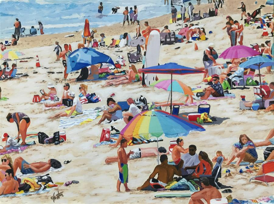 Original art for sale at UGallery.com | Day at the Beach by John Jaster | $900 | acrylic painting | 18' h x 24' w | ..\art\acrylic-painting-Day-at-the-Beach-71334
