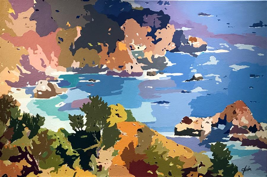 Original art for sale at UGallery.com | Coastal Impressions - The Cove by John Jaster | $1,300 | acrylic painting | 24' h x 36' w | ..\art\acrylic-painting-Coastal-Impressions-The-Cove