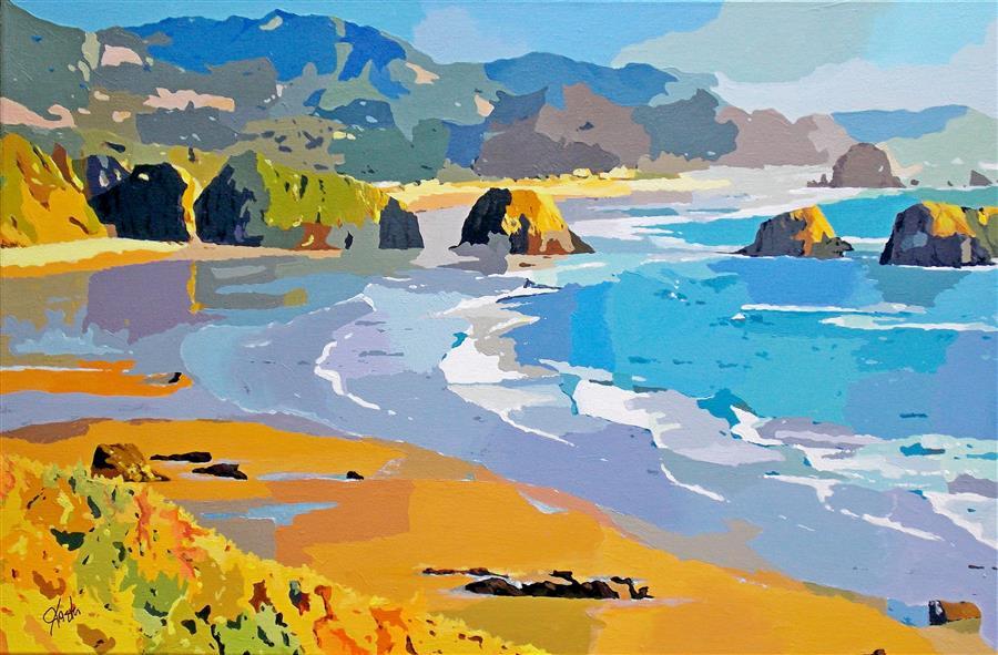 Original art for sale at UGallery.com | Coastal Impressions - Rock Beach by John Jaster | $1,300 | acrylic painting | 24' h x 36' w | ..\art\acrylic-painting-Coastal-Impressions-Rock-Beach