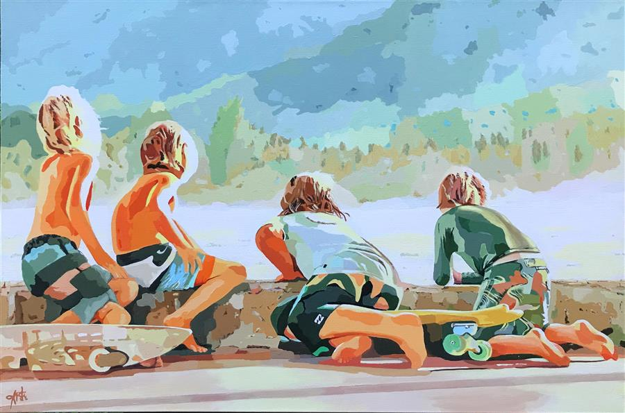 Original art for sale at UGallery.com | Boys of Summer by John Jaster | $1,300 | acrylic painting | 24' h x 36' w | ..\art\acrylic-painting-Boys-of-Summer