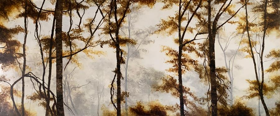 Original art for sale at UGallery.com | Amber Forest by Candice Eisenfeld | $3,100 | acrylic painting | 20' h x 48' w | ..\art\acrylic-painting-Amber-Forest