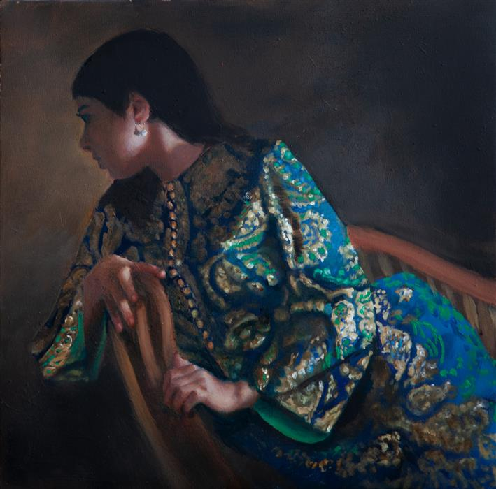 Original art for sale at UGallery.com | Woman in Blue and Green by John Kelly | $2,300 | oil painting | 15.75' h x 15.75' w | ..\art\oil-painting-Woman-in-Blue-and-Green