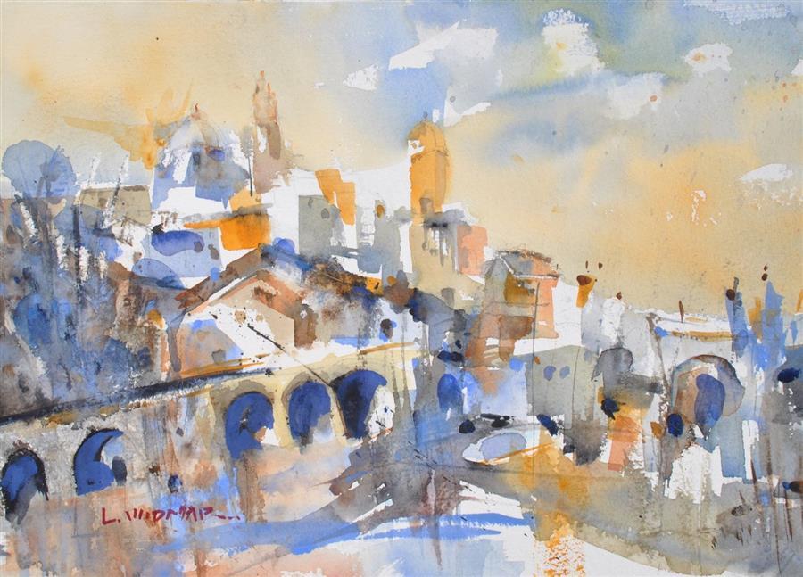 Original art for sale at UGallery.com | Puente de Besalu by Lanie Widmar | $500 | watercolor painting | 12.25' h x 17' w | ..\art\watercolor-painting-Puente-de-Besalu