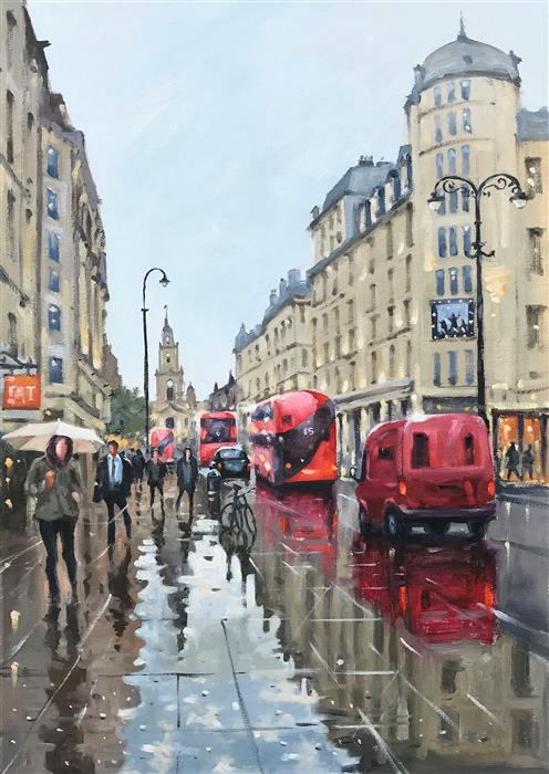 Original art for sale at UGallery.com | A Rainy Day in London by Swarup Dandapat | $1,000 | oil painting | 22' h x 15' w | ..\art\oil-painting-A-Rainy-Day-in-London