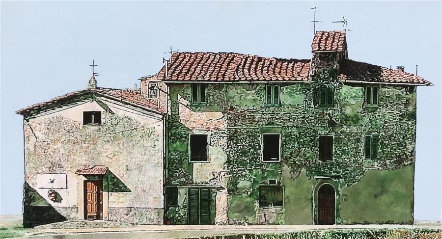 Original art for sale at UGallery.com | Casa con Chiesa by Simone Giaiacopi | $2,000 | oil painting | 17.3' h x 31' w | ..\art\oil-painting-Casa-con-Chiesa
