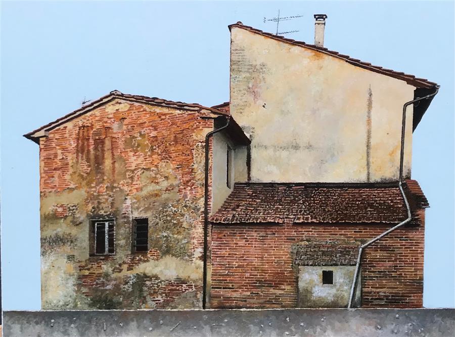 Original art for sale at UGallery.com | Casa di Mattoni Rossi by Simone Giaiacopi | $1,800 | oil painting | 18.9' h x 24.8' w | ..\art\oil-painting-Casa-di-Mattoni-Rossi