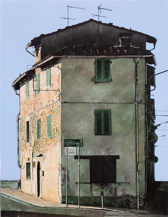 Original art for sale at UGallery.com   Casa con Antenne by Simone Giaiacopi   $1,700   oil painting   22.8' h x 17.7' w   ..\art\oil-painting-Casa-con-Antenne