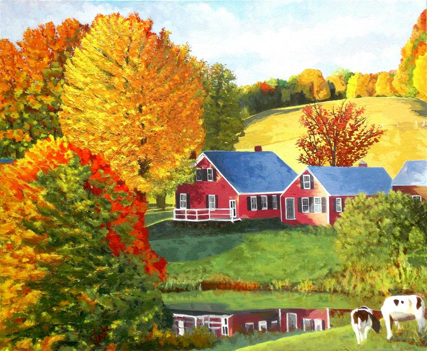 Original art for sale at UGallery.com   Farmhouse Reflections by John Jaster   $1,050   acrylic painting   20' h x 24' w   ..\art\acrylic-painting-Farmhouse-Reflections