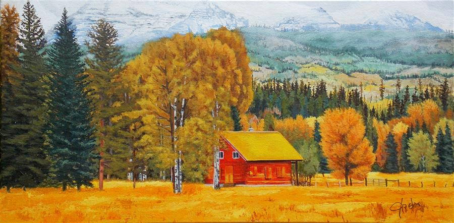 Original art for sale at UGallery.com | The Red Cabin by John Jaster | $700 | acrylic painting | 12' h x 24' w | ..\art\acrylic-painting-The-Red-Cabin