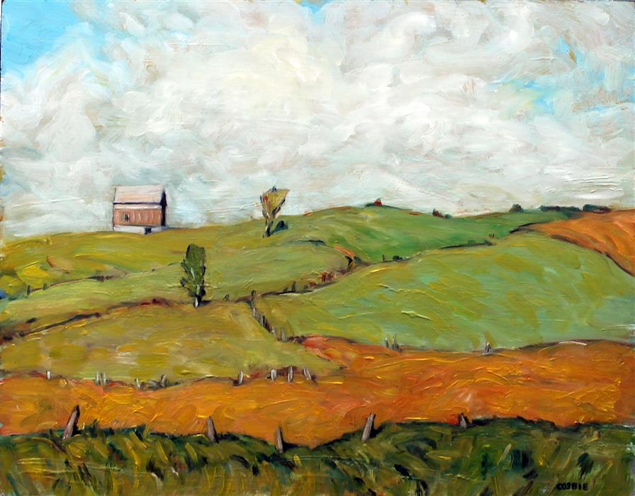 Original art for sale at UGallery.com | Fields and Barn, Homer, NY by Doug Cosbie | $500 | oil painting | 11' h x 14' w | ..\art\oil-painting-Fields-and-Barn-Homer-NY