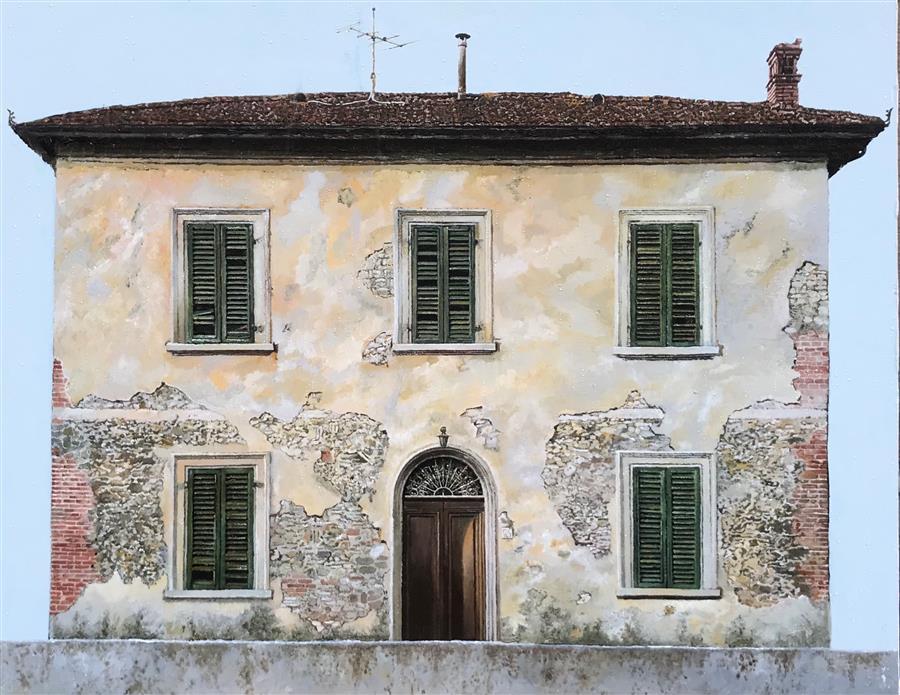 Original art for sale at UGallery.com | Casa Abbandonata by Simone Giaiacopi | $1,850 | oil painting | 19.7' h x 24.8' w | ..\art\oil-painting-Casa-Abbandonata