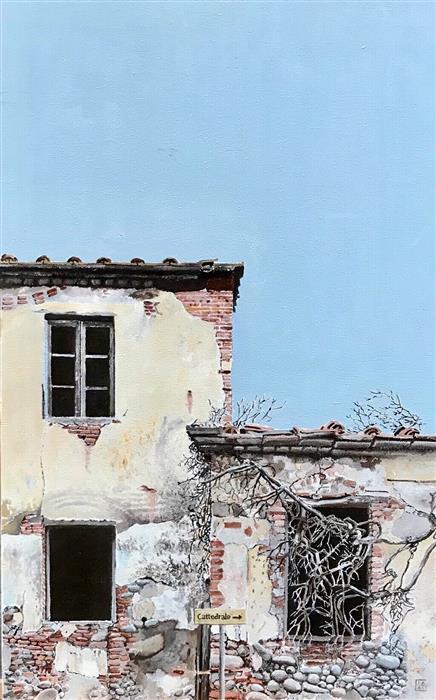 Original art for sale at UGallery.com | Casa con Glicine Secco by Simone Giaiacopi | $1,850 | oil painting | 27.6' h x 17.3' w | ..\art\oil-painting-Casa-con-Glicine-Secco