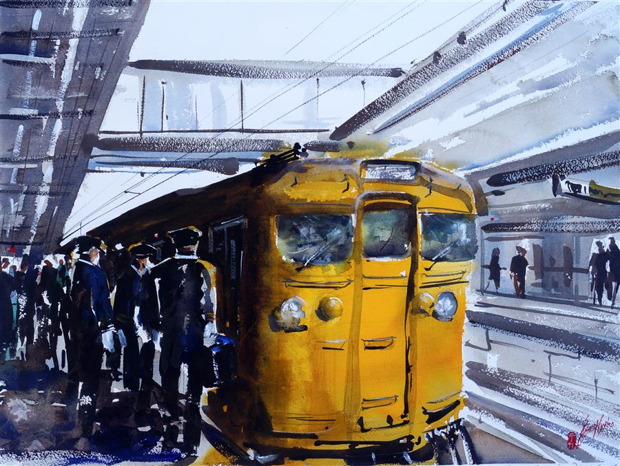 Original art for sale at UGallery.com | The Change Over by James Nyika | $800 | watercolor painting | 18' h x 24' w | ..\art\watercolor-painting-The-Change-Over