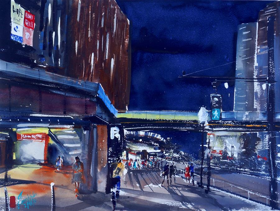 Original art for sale at UGallery.com | City Lights, Tokyo by James Nyika | $700 | watercolor painting | 18' h x 24' w | ..\art\watercolor-painting-City-Lights-Tokyo