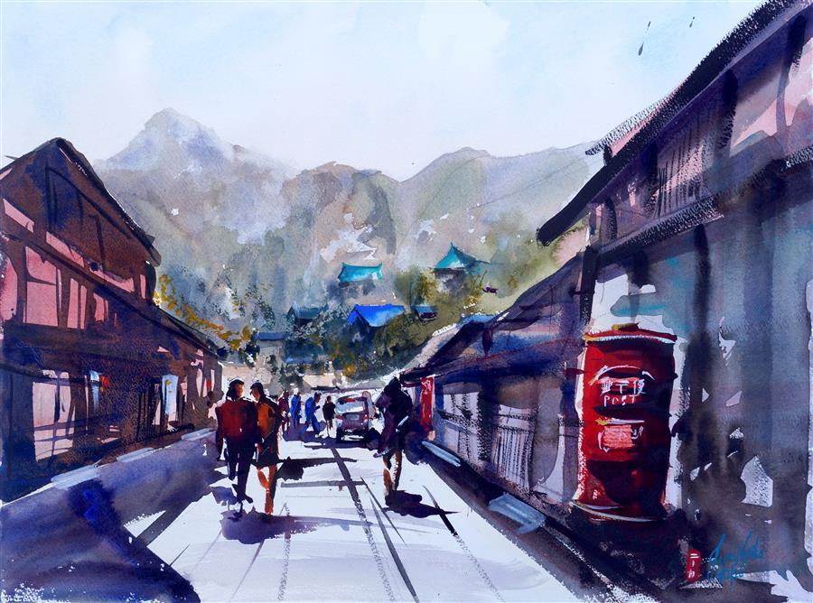 Original art for sale at UGallery.com   Main Street by James Nyika   $700   watercolor painting   18' h x 24' w   ..\art\watercolor-painting-Main-Street