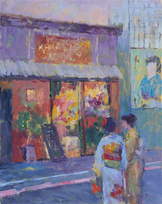 Original art for sale at UGallery.com   Kyoto Flower Shop by Oksana Johnson   $1,400   oil painting   20' h x 16' w   ..\art\oil-painting-Kyoto-Flower-Shop
