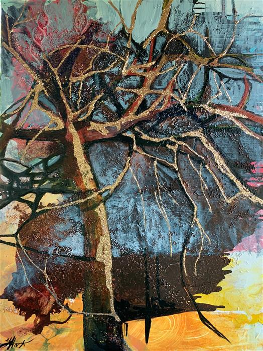 Original art for sale at UGallery.com | My Kind of Tree by Julia Hacker | $2,225 | mixed media artwork | 40' h x 30' w | ..\art\mixed-media-artwork-My-Kind-of-Tree