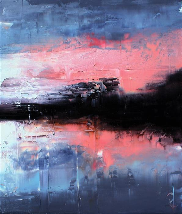 Original art for sale at UGallery.com | Evening on Crystal Lake by Ronda Waiksnis | $550 | oil painting | 20' h x 17' w | ..\art\oil-painting-Evening-on-Crystal-Lake