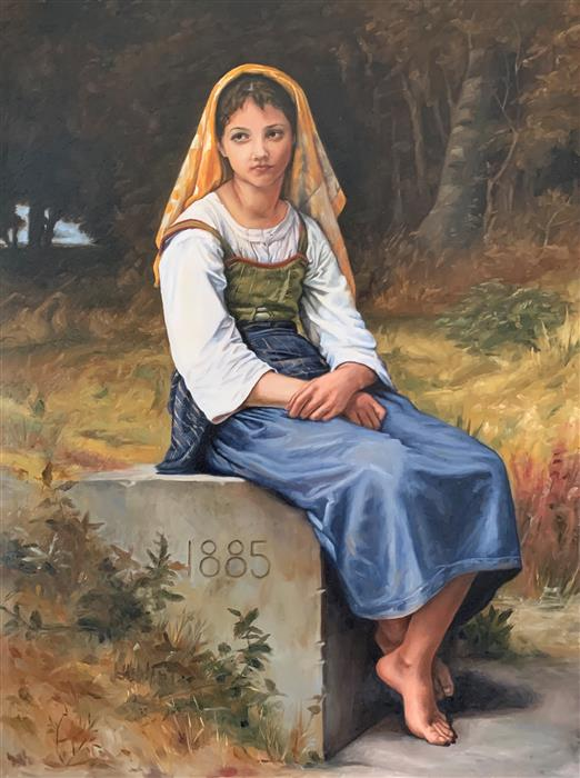 Original art for sale at UGallery.com | Master Copy of William Bouguereau's Meditation by Debbie Daniels | $2,575 | oil painting | 16' h x 12' w | ..\art\oil-painting-Master-Copy-of-William-Bouguereau-s-Meditation