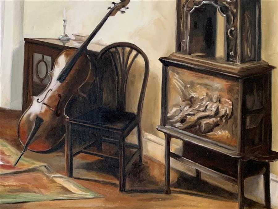 Original art for sale at UGallery.com   Interior with a Cello by Debbie Daniels   $1,250   oil painting   14' h x 17' w   ..\art\oil-painting-Interior-with-a-Cello
