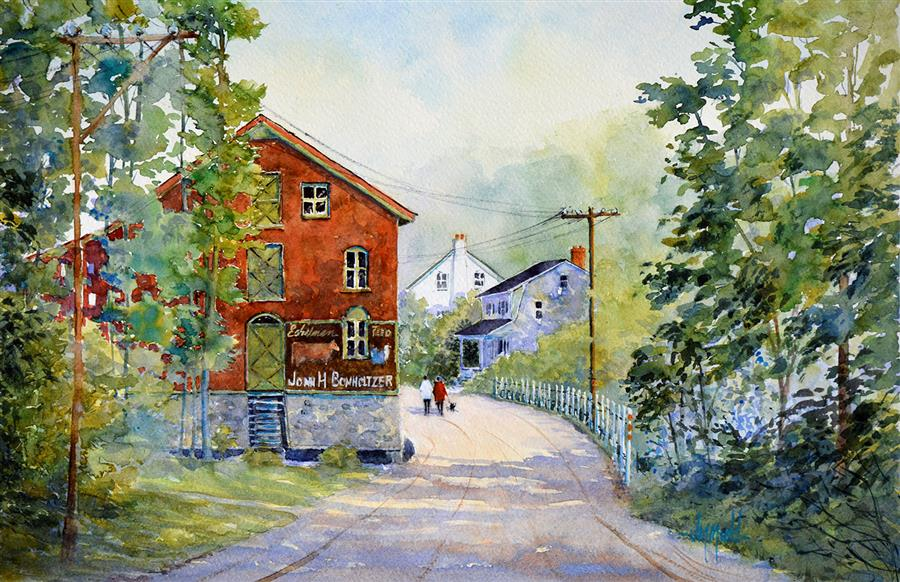 Original art for sale at UGallery.com | Millport Mill (PA) by Judy Mudd | $950 | watercolor painting | 12' h x 18' w | ..\art\watercolor-painting-Millport-Mill-PA