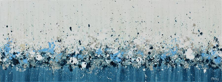 Original art for sale at UGallery.com | Blue Haze by Lisa Carney | $1,050 | acrylic painting | 12' h x 32' w | ..\art\acrylic-painting-Blue-Haze