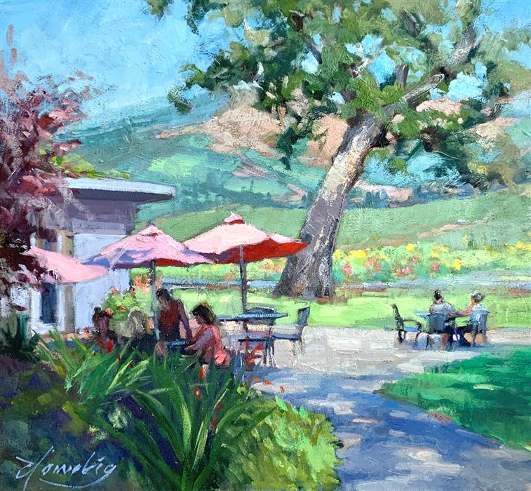 Original art for sale at UGallery.com | Relaxing at the Gorge White House by Elo Wobig | $625 | oil painting | 12' h x 13' w | ..\art\oil-painting-Relaxing-at-the-Gorge-White-House
