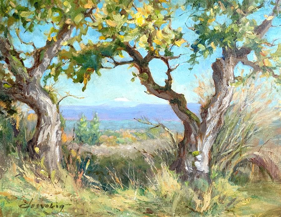 Original art for sale at UGallery.com | Golden Trees Powell Butte by Elo Wobig | $675 | oil painting | 11' h x 14' w | ..\art\oil-painting-Golden-Trees-Powell-Butte