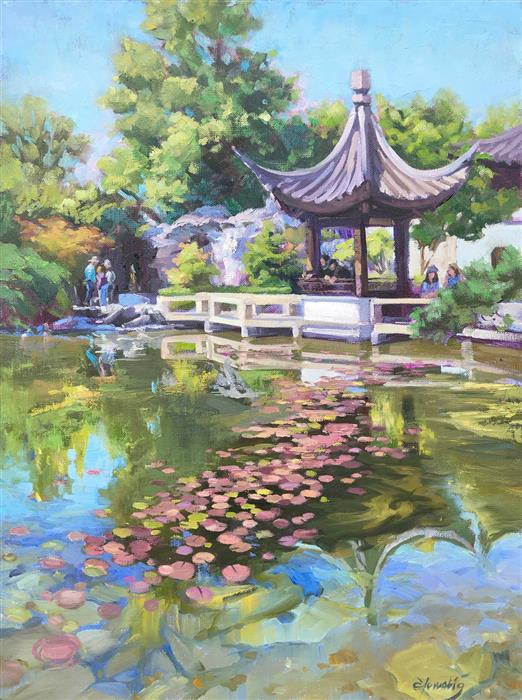 Original art for sale at UGallery.com | Chinese Feast by Elo Wobig | $1,550 | oil painting | 24' h x 18' w | ..\art\oil-painting-Chinese-Feast